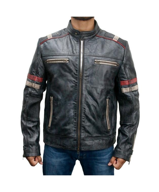 Men's Biker Style Motorbike Distressed Genuine Leather Jacket Black