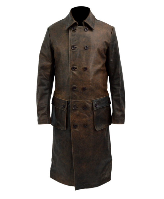 Declan Harp Frontier Genuine Distressed Leather Long Trench Coat