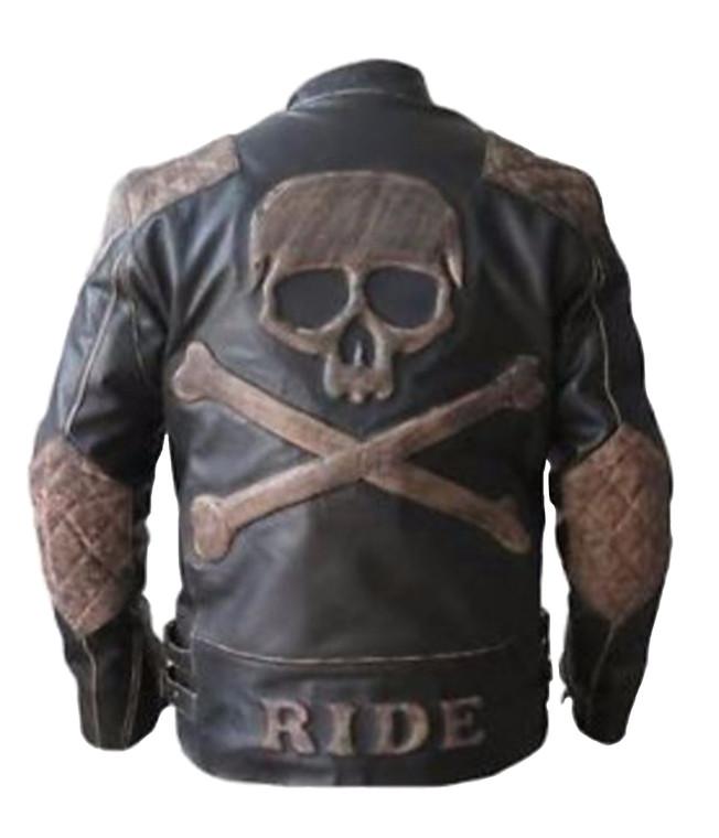Men's Skull Embossed Genuine Leather Jacket Vintage Distressed Brown
