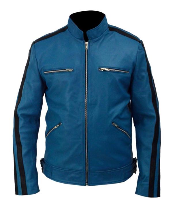 Sale Dirk Gently Holistic Detective Agency Samuel Barnett Blue Leather Jacket