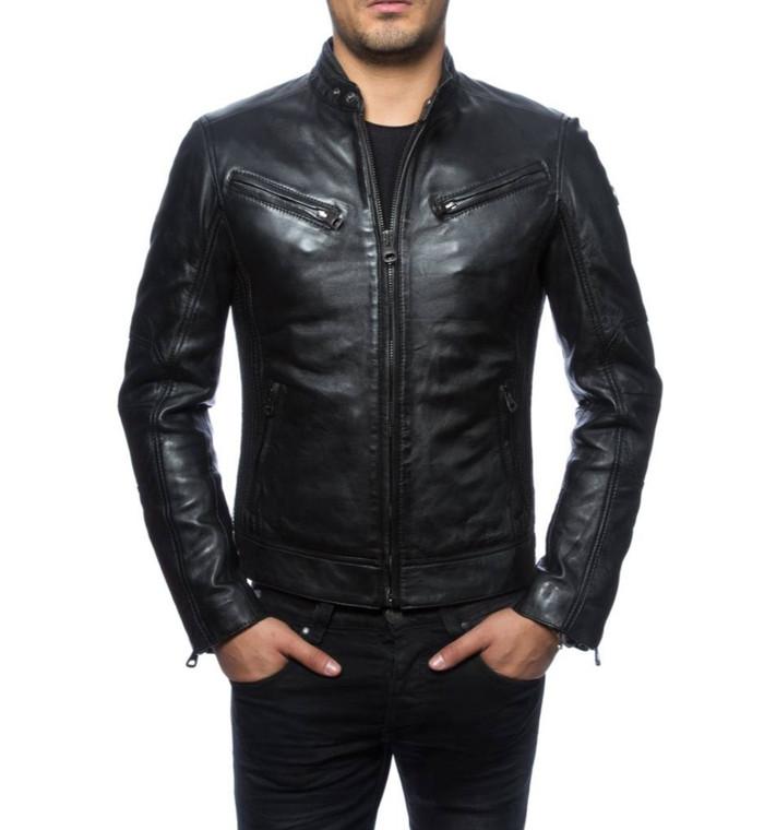 Sale Men's Biker Style Motorbike Genuine Leather Jacket BK026