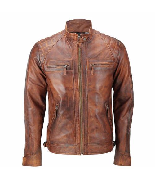Mens Biker Vintage Distressed Brown Racer Leather Jacket