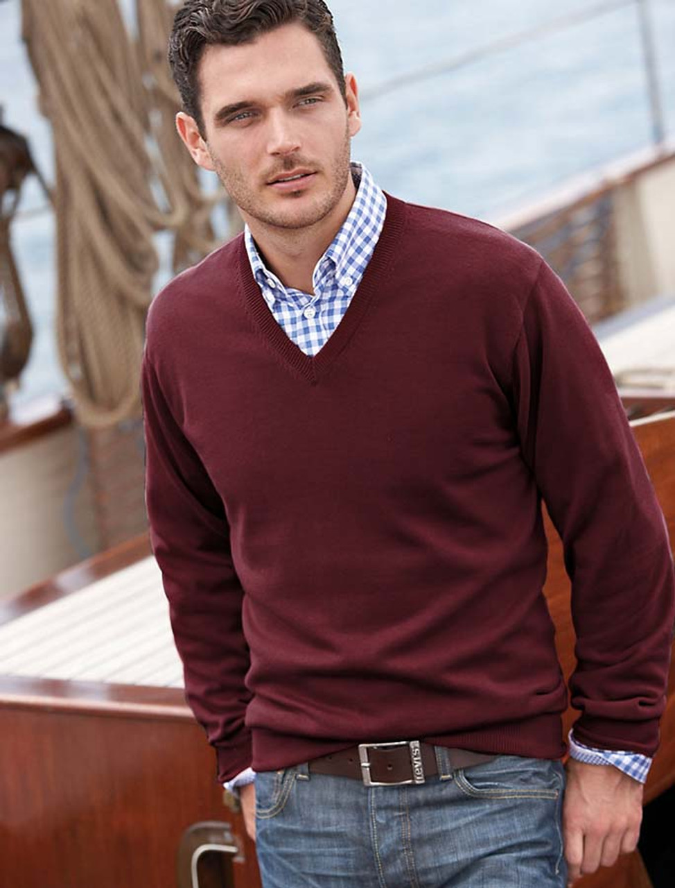 Mens Lambswool V-Neck Sweater