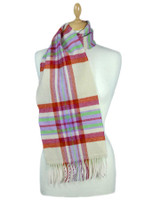 Narrow Lambswool Plaid Scarf - Berries and Cream