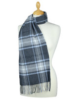 Fine Merino Plaid Scarf - Charcoal Light Blue Grey