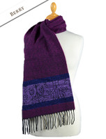 GlenAran Celtic Birds Pattern Scarf - Berry