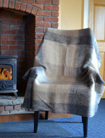 Mohair Plaid Knee Throw - Brown Grey