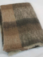 Mohair Plaid Knee Throw - Brown Grey