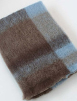 Mohair Plaid Knee Throw - Brown Blue
