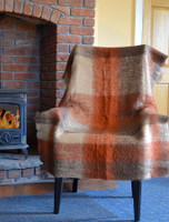 Mohair Plaid Knee Throw - Brown Rust
