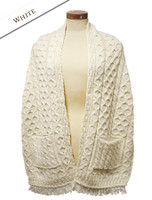 Aran Shawl Wrap with Pockets - White
