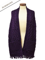 Aran Shawl Wrap with Pockets - Aubergine