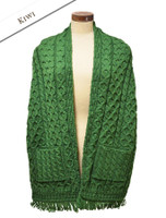 Aran Shawl Wrap with Pockets - Kiwi