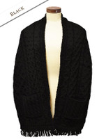 Aran Shawl Wrap with Pockets - Black
