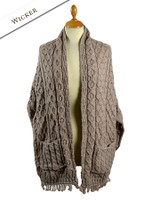 Aran Shawl Wrap with Pockets - Wicker