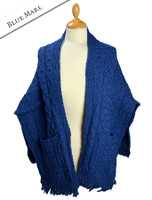 Aran Shawl Wrap with Pockets - Blue Marl