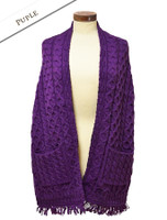 Aran Shawl Wrap with Pockets - Purple