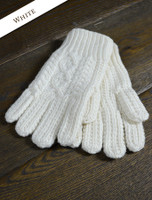 Adult Aran Gloves - Natural White