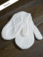 Adult Aran Mittens - Natural White