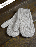 Adult Aran Mittens - Honey Oat