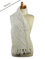 Aran Merino Wool Scarf - White
