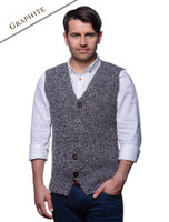 Men's Sweater Vest with Buttons - Graphite