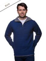 Mens Half Zip Irish Wool Sweater - Navy