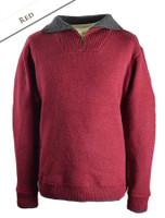 Mens Half Zip Irish Wool Sweater - Red