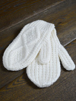 Children's Aran Mittens - Natural White