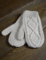 Children's Aran Mittens - Honey Oat