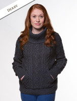 Cowl Neck Sweater with Pockets - Derby