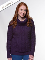 Cowl Neck Sweater with Pockets - Aubergine