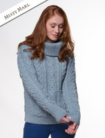 Cowl Neck Sweater with Pockets - Misty Marl
