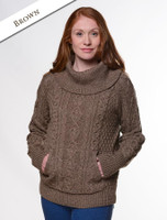 Cowl Neck Sweater with Pockets - Brown