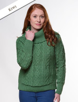 Cowl Neck Sweater with Pockets - Kiwi