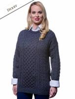 Women's Merino Aran Sweater - Derby