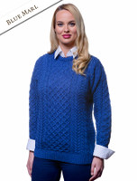 Women's Merino Aran Sweater - Blue Marl