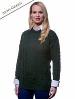 Women's Merino Aran Sweater - Army Green