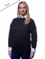 Women's Merino Aran Sweater - Navy