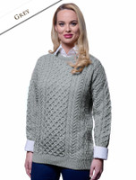 Women's Merino Aran Sweater - Grey