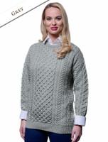 Women's Merino Aran Sweater - Grey