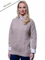 Women's Merino Aran Sweater - Wicker