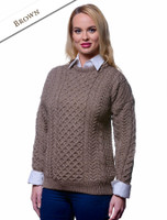 Women's Merino Aran Sweater - Brown