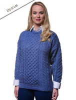 Women's Merino Aran Sweater - Caspian