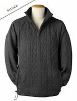 Windproof Aran Style Half Zip Jacket - Silver