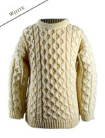 Kid's Traditional Aran Merino Wool Sweater - Natural White