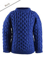 Kid's Traditional Aran Merino Wool Sweater - Blue