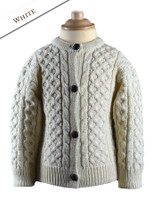 Kid's Traditional Aran Merino Wool Cardigan - White