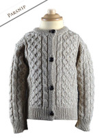 Kid's Traditional Aran Merino Wool Cardigan - Parsnip