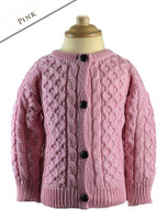 Kid's Traditional Aran Merino Wool Cardigan - Pink